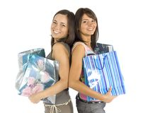 Two shopping women Stock Images