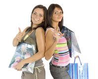 Two shopping women Royalty Free Stock Images