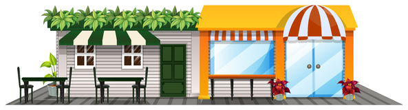 Two shops with outdoor dining area Stock Photography