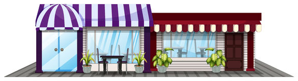 Two shops in purple and red Royalty Free Stock Images