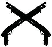 Two short pump shotguns Royalty Free Stock Images