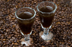 Two shot glasses of coffee liqueur, selective focus Stock Images