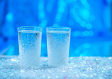 Two shot glasses with cold vodka Stock Image