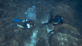 A shot of scuba diver under water. A two shot of two scuba divers under water stock video