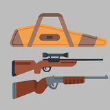 Two shotguns vector illustration hunting gun danger target trigger vintage ammunition steel firearm shot. Two shotguns weapon vector illustration hunting gun Stock Photos