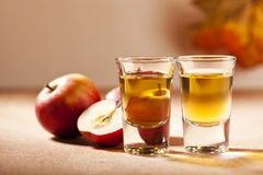 Two Shots of Apple Schnaps Stock Photo