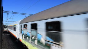 Two shots of passing train stock footage