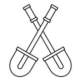Two shovels icon, outline style Stock Photo