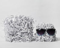 Two Shredded Paper Cubes Wearing Sunglasses Stock Image