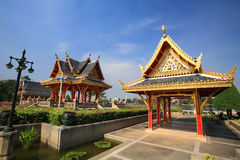 Two shrines decorated at Chalerm Prakiat park Stock Images