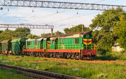 Two shunters with freight train Royalty Free Stock Images