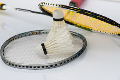 Two shuttlecocks and badminton racket Stock Photography