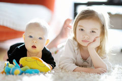 Two sibling sisters at home Royalty Free Stock Photography