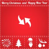Two side arrow Icon Vector. And bonus symbol for New Year - Santa Claus, Christmas Tree, Firework, Balls on deer antlers Royalty Free Stock Images