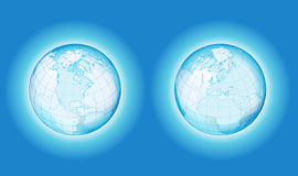 Two side transparency globe. All elements are separate objects and grouped. File is made with linear and radial gradient. No transparency. Map source Url Stock Illustration