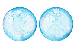 Two side transparency globe. All elements are separate objects and grouped. File is made with linear and radial gradient. No transparency. Map source Url Vector Illustration
