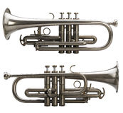 Two side view of a Silver trumpet Royalty Free Stock Photo
