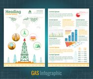 Two sided business brochure or flyer, gas rig or oil derrik and information. Vector modern flat style. Template design stock illustration