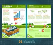 Two sided business brochure or flyer, gas rig or oil derrik on landscape with information. Vector modern flat style. Template design stock illustration