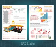 Two sided business brochure or flyer, gas station infographic realistic gas station with abstract diagrams royalty free illustration