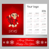 Two-sided calendar and banner in red with monkey Stock Image