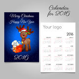 Two-sided calendar 2016 with deer toy and gift box. Two-sided vector calendar 2016 with deer toy and gift box vector illustration