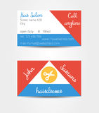 Two sided eccentric and extraordinary business cards template. Eg. for hairdresser - all data are fictional Royalty Free Stock Photos