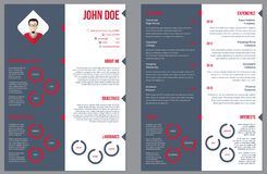 Two sided resume curriculum vitae Stock Images