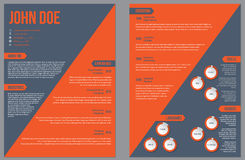 Two sided resume cv template with large orange stripe Royalty Free Stock Image