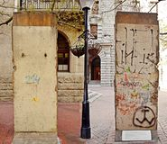 Two sides of the Berlin Wall stock image