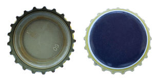 Isolated Blue and Yellow Metal Caps Royalty Free Stock Images