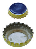 Isolated Blue and Yellow Metal Caps Royalty Free Stock Image