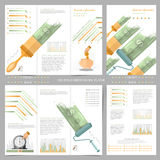 Two sides of business tri fold and flyer. Infographics elements in modern flat concept business style. Use for marketing, flyer, c Royalty Free Stock Image