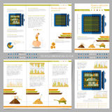 Two sides of business tri fold and flyer. Stock Photos