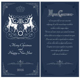 Two sides of christmas blue postcard. Two white deers against one another with swirl pattern Stock Image