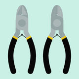 Two sides of cutting pliers Royalty Free Stock Image