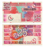 Discontinued Dutch Money - 25 Gulden. Two sides of a Dutch 25 Gulden (Gilder) money note printed in 1989 Royalty Free Stock Photo