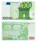 Two sides of 100 euro banknote. Isolated on white background Royalty Free Stock Photos