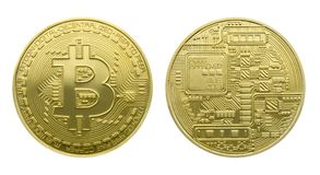 Two sides of a gold coins of Bitcoin Stock Photography