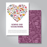 Two sides invitation card design with sewing and needlework. Illustration background. Vector design template for card, letter, banner, flyer.Can by used  to Stock Image
