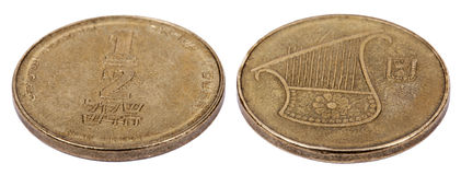 Isolated 1/2 Shekel - Both Sides High Angle Royalty Free Stock Photos