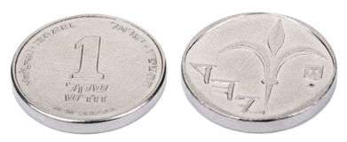 Isolated 1 Shekel - Both Sides High Angle Royalty Free Stock Photography