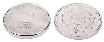 Isolated 2 Shekels - Both Sides High Angle Royalty Free Stock Image
