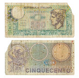 Discontinued Italian 500 Lire Money Note. Two sides of an Italian 500 Lire money note printed in 1974. The lira (plural lire) was the currency of Italy between Royalty Free Stock Photo
