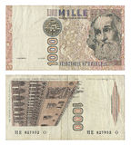 Discontinued Italian 1000 Lire Money Note. Two sides of an Italian 1000 Lire money note printed in 1982. The lira (plural lire) was the currency of Italy between Royalty Free Stock Images