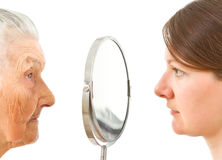 The two sides of a mirror Royalty Free Stock Photos