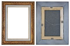 Two sides of a modern wooden frame for a small picture in retro stock photography