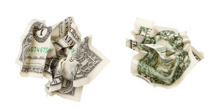 Two sides of one crumpled dollar isolated. On white with clipping path included royalty free stock image