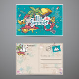 Two sides of a postcard with summer time doodles Royalty Free Stock Image