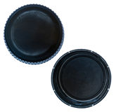 Isolated Black Plastic Bottle Caps Stock Photos